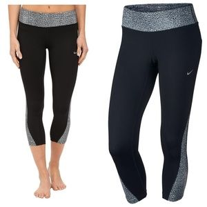 Nike Black Grey Printed Racer Crop Tights Leggings